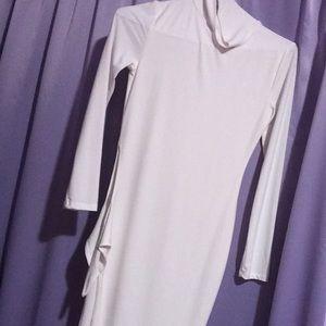 All white dress with split